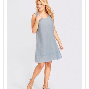 FLAX Blue One Tuck Wonder Sleeveless Dress Sz M